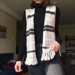 Cream and grey-blue striped knit vest with fringe